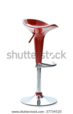 Photo of modern style, red plastic bar chair, isolated on white background.