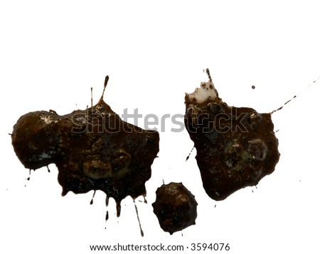 photo of mud splattered on a white background