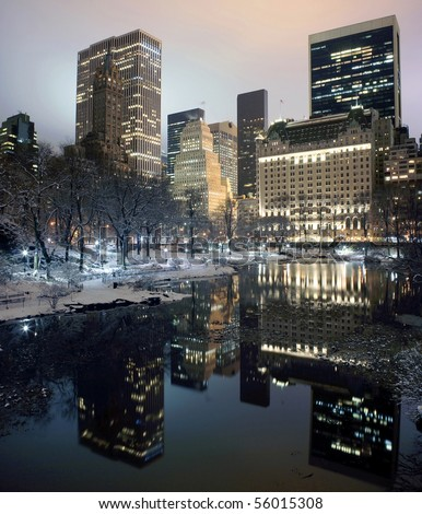 Photo of New York City buildings as viewed from Central Park at night.  Taken December 19, 2008.