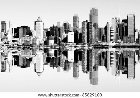 photo of new york city skyline over the hudson river. black and white new york skyline mirror reflection. nyc Manhattan midtown new york landmark.