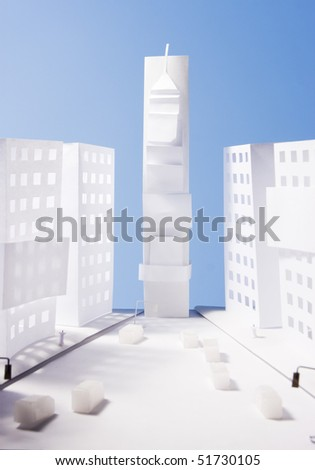 Photo of New york city - times square, made of paper - stock photo