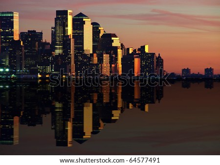 photo of new york cityscape skyline at night, nyc, usa