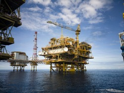 Photo of Oil platform at the ocean with selective background