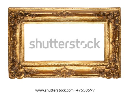 Photo of old antique gold frame over white background. Clipping path included.
