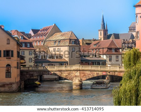 Photo of one of the world famous places in Strasbourg, Alsace, France with old historic houses and homes