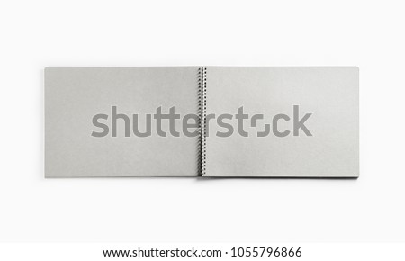 Photo of open sketchbook with blank pages on white paper background. Responsive design template. Flat lay. #1055796866