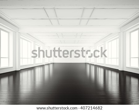 photo of open space office modern buildingempty white interior loft style with black wood abstract 3d office building
