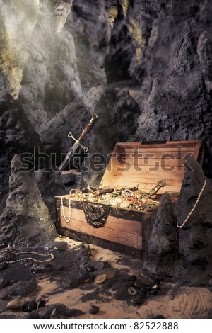 photo of open treasure chest with shinny gold in a cave