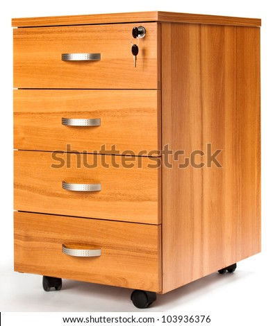 Photo of opened drawers from wooden cabinet