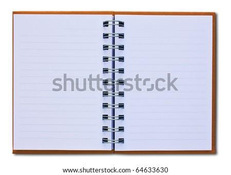 Photo of orange notebook (blank paper).
