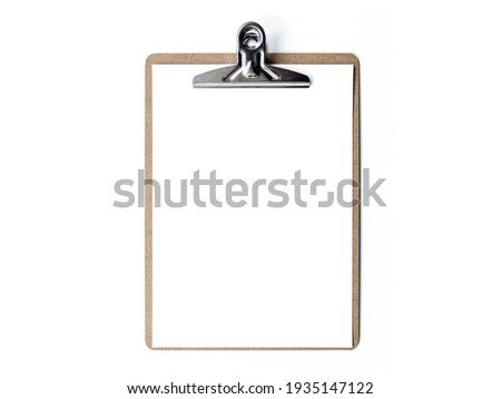 Photo of paper with blank clipboard isolated on white background. Brown clipboard Foto stock ©