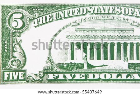 Photo of part of a five-dollar bill