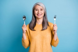 Photo of positive cheerful old woman hold fork spoon ready eat tasty delicious yummy dish lucnh wear good look pullover isolated over blue color background