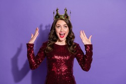 Photo of pretty lady festive party event prom queen nomination excited crown on head overjoyed wear sequins burgundy short dress isolated pastel violet color background