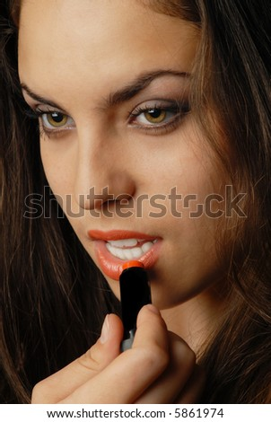 Photo of pretty woman with red lipstick