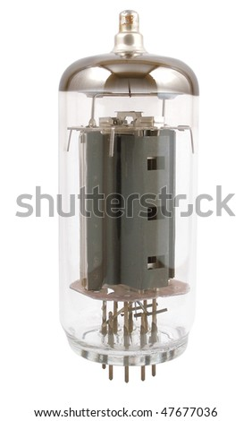 Photo of radio of a lamp on a white background.