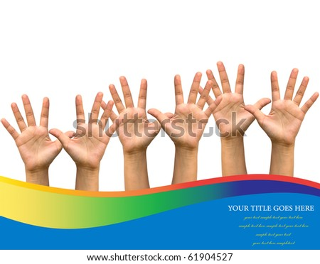 Photo of raised hands isolated on white background.