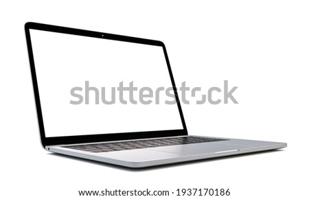 Photo of realistic modern laptop open with white screen isolated on white background