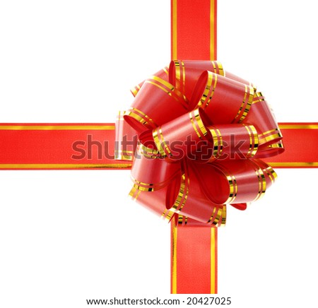 photo of red gift bow with ribbon isolated on white background