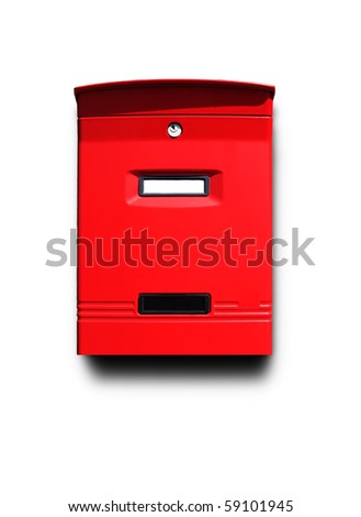 Photo of red mail box isolated on white - stock photo