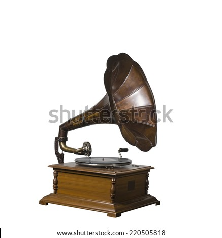 Photo of retro gramophone isolated over white background #220505818