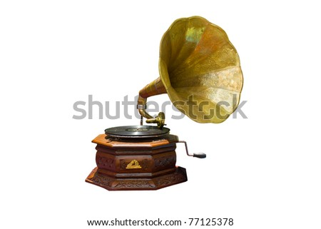 photo of retro gramophone with disc isolated #77125378