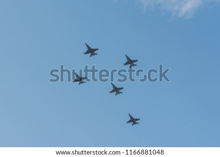 Photo of Royal Malaysian Airforce aircraft and fighter jet flying over Putrajaya for Malaysia National Day 2018