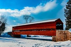 Photo of Sachs Covered Bridge in Winter, Gettysburg, Pennsylvania USA