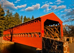 Photo of Sachs Covered Bridge on a sunny Autumn Day
