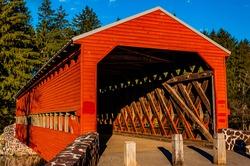 Photo of Sachs Covered Bridge on a Sunny Autumn Day, Gettysburg, Pennsylvania USA