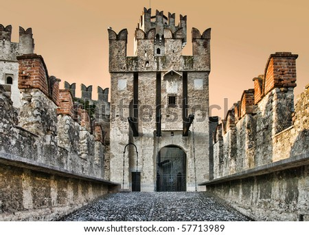 Photo of Scaliger Castle (13th century) in Sirmione by lake Garda, Italy