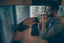 Photo of serious coder interested in critical errors failures arising remaining unknown until he started coding scripts by using java language