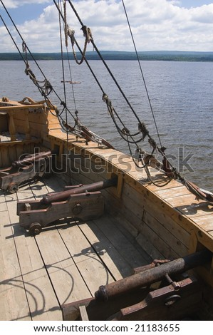 Photo of ship set at the deck of old sailing ship