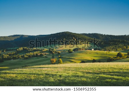 Photo of Slovak countryside, slovak rural country, european landscape Slovak mountains Green meadows summer day Slovak countryside, meadows in middle europe