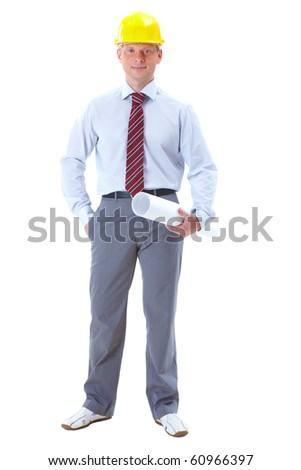 Photo of smart businessman in helmet over white background