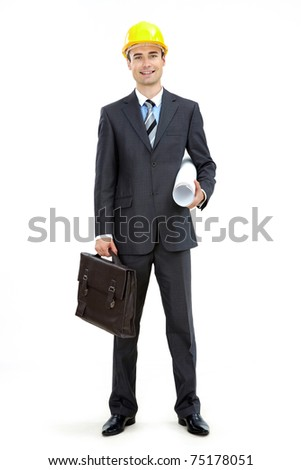 Photo of smart businessman in helmet over white background