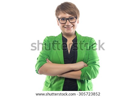 Photo of smiling pudgy woman with arms crossed on white background