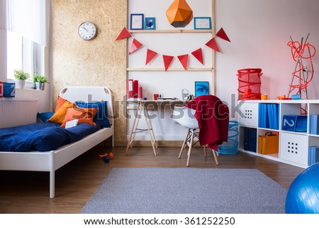 Photo of spacious and contemporary interior of teenager room  #361252250