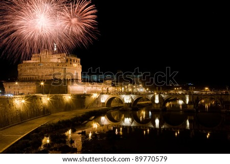 photo of St. Angels Castle with a firework show over it taken by night - stock photo