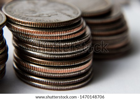 photo of stacks of quarters #1470148706