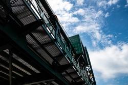 Photo of steel frame bridge from underneath.