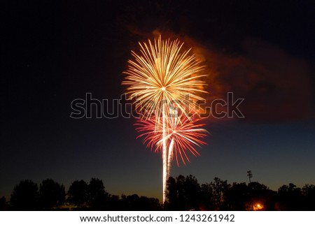 Photo of stunning fireworks in night sky over a small town