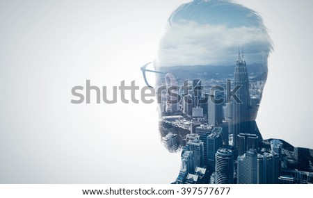 Photo of stylish bearded lawyer wearing trendy suit and looking city. Double exposure, panoramic view contemporary megalopolis background. Space for your business message.  Isolated white. Wide