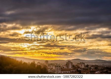Photo of Sunset Shining on Gorizia in Italy. Photo Taken From Slovenia. At Kostanjevica Church and Monastery Stock photo ©