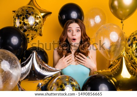 Photo of surrounded by many balloons lady having best bday ever wear tank-top isolated yellow background