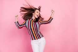 Photo of sweet pretty young woman dressed colorful blouse smiling dancing looking empty space isolated pink color background