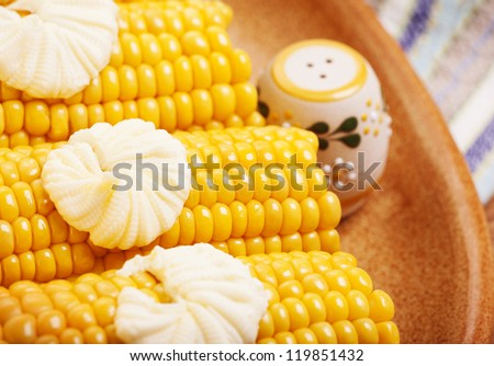 Photo of tasty boiled corncob with salt and butter on the plate, healthy breakfast, yellow prepared sweetcorn on the table in kitchen, organic nutrition, delicious vegetable, grain snack