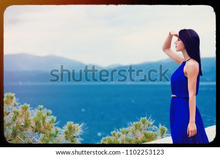 photo of the beautiful young woman looking at the splendid view in Greece . Image made with old film frame. Zdjęcia stock ©