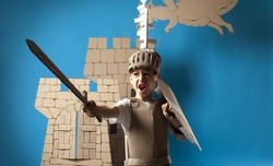 Photo of the boy in medieval knight costume made of cardboards. This decorations are made specially for this photosession by me.