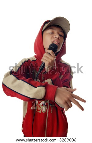 Photo of the boy in rapper clothes singing a hip-hop